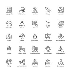 Line icons of business management vector