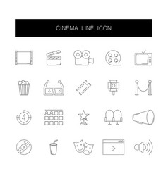 line icons set cinema pack vector image