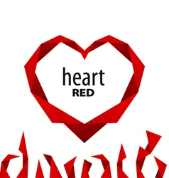 logo heart from red ribbon vector image