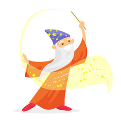 magician with long white beard waving magic wand vector image