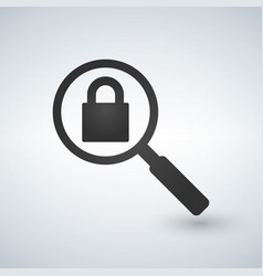 magnifying glass with closed padlock vector image