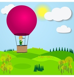 Man flying hot air balloon over the a mountain vector image