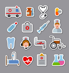 Medicine stickers and icons vector