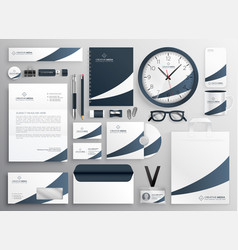 Modern clean brand stationery template set vector