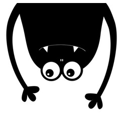 Monster head silhouette two eyes teeth fang hands vector