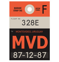 Montevideo airport luggage tag vector