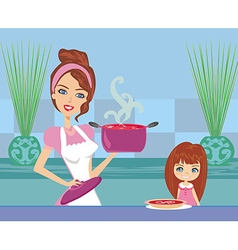 mother serving tomato soup vector image