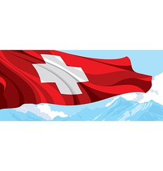 Mountain and Swiss flag vector