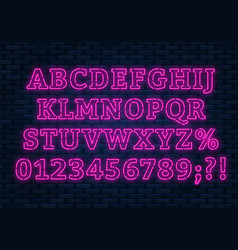 neon pink font bright capital letters with vector image