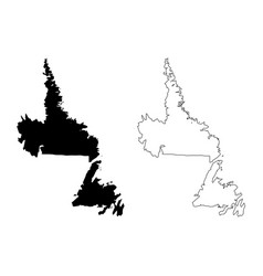 Newfoundland and labrador canada map black and vector