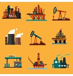 Oil extraction refinery and retail flat icons vector