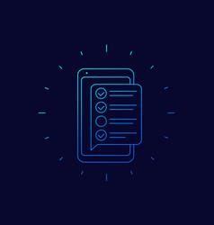 Online survey form in phone checklist icon vector