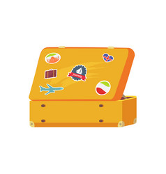 Open retro suitcase with memory sticker sailboat vector