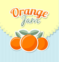 orange jam label in retro style on striped vector image