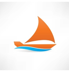 Orange sailboat at sea icon vector