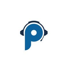 P letter podcast logo icon design vector