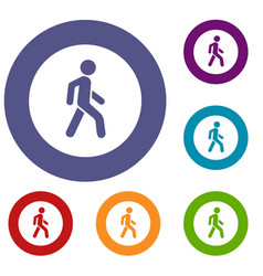 Pedestrians only road sign icons set vector