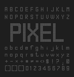 Pixel Font Design Letters And Numbers vector image