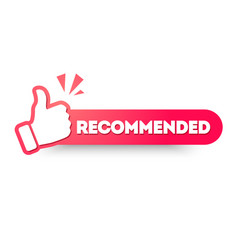 Recommended label with thumbs up vector