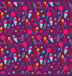 seamless pattern with birthday party decorative vector image