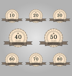 set of anniversary retro badges vector image