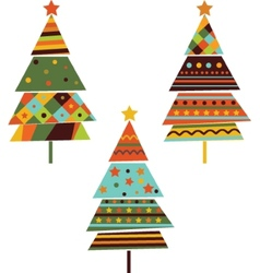 Set of stylized fir trees vector image