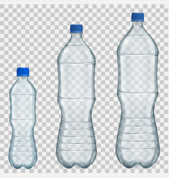 Set of transparent plastic bottles vector