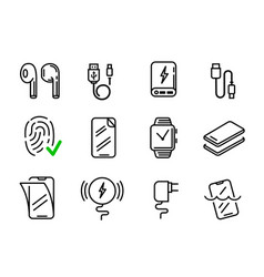 set phone icons in line style vector image