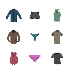Set various upper and lower clothing in flat style vector