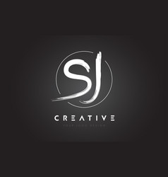 Sj brush letter logo design artistic handwritten vector
