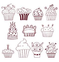 Sketchy set hand drawn cupcakes vector