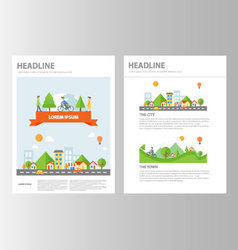 Small Town brochure flyer leaflet presentation set vector image