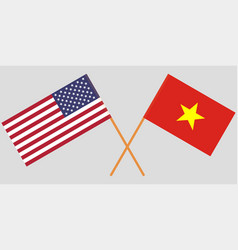 Socialist republic of vietnam and usa flags vector