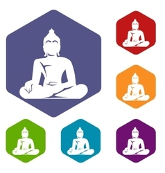 Statue of buddha sitting in lotus pose icons set vector