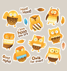 Stickers designs with birds and messages funny vector