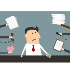 Stressed cartoon businessman has a lot of work vector