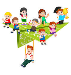 Student activity in paper plane on it vector