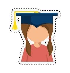Student graduation with uniform icon vector