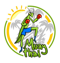 sun and muay thai vector image