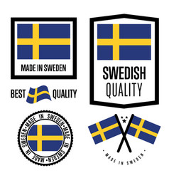 sweden quality label set for goods vector image