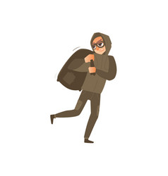thief burglar in mask runs away with bag of loot vector image
