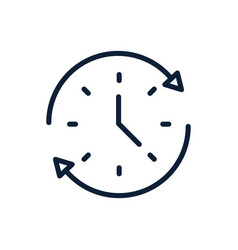 Time clock all day service linear design vector