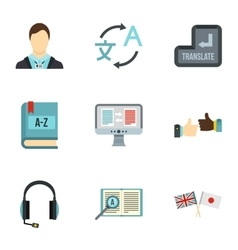 Translation of language icons set flat style vector image