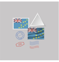 Tuvalu flag postage stamp set isolated on gray vector