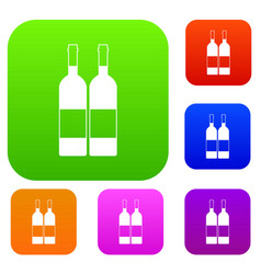 two bottles of wine set color collection vector image