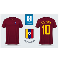 venezuela soccer jersey or football kit mockup vector image