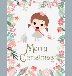 vintage cute merry christmas girl in flower frame vector image