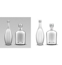 Vodka glass bottle realistic filled alcohol pack vector
