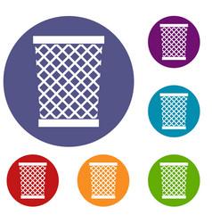 Wastepaper basket icons set vector