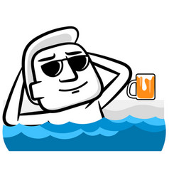 White man cartoon relaxing and drinking scene vector
